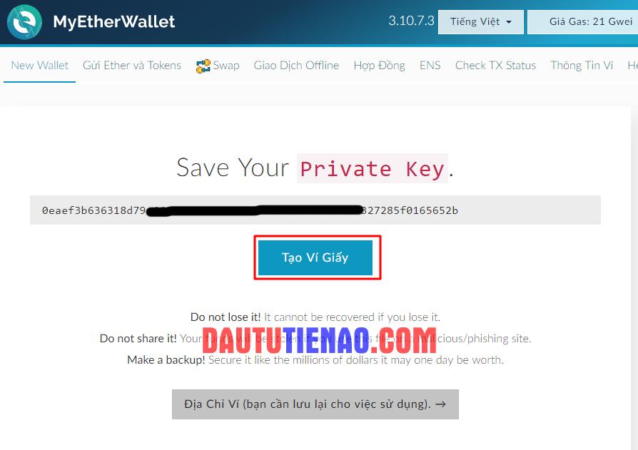Tải ví giấy (Private Key) về máy. (Hình 3)