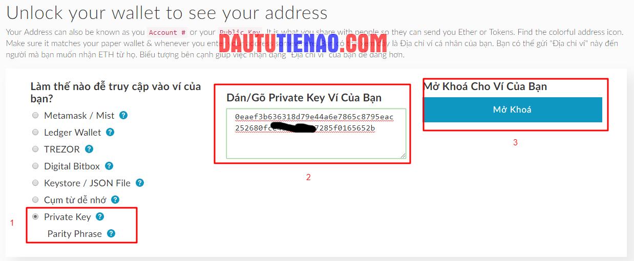 Đăng nhập MyEtherWallet bằng Private Key