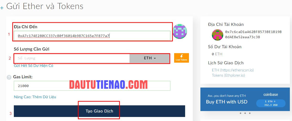 how to send eth to myetherwallet
