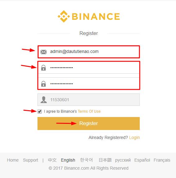 Đăng ký tài khoản Binance.