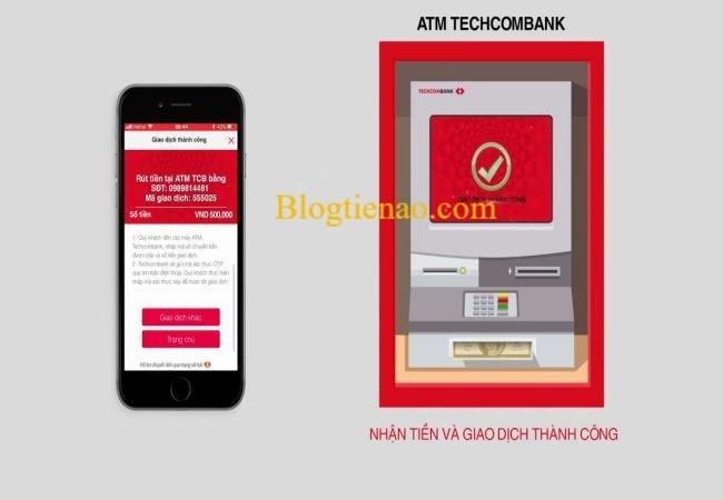 rut tien amt khong can the techcombank