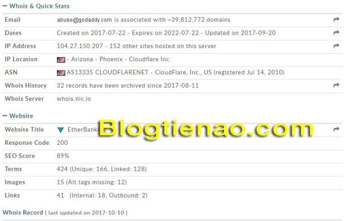 Thông tin tên miền của Etherbanking.io